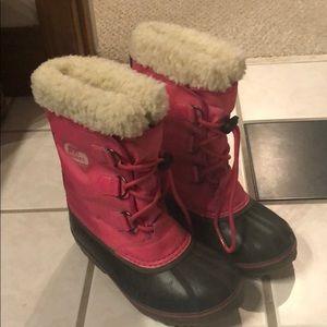 Sorel waterproof pink kids boots